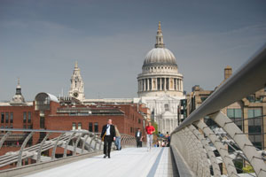 St Paul's Cathedral in the City from London's Millenium Bridge