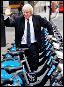 Boris Johnson with some bikes from his new London Cycle Scheme
