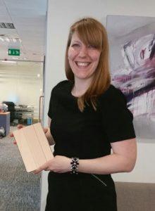 Kayla Wood with her new iPad Mini