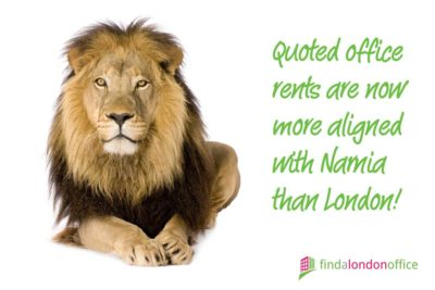 Quoted office rents are now more aligned with Narnia than London!