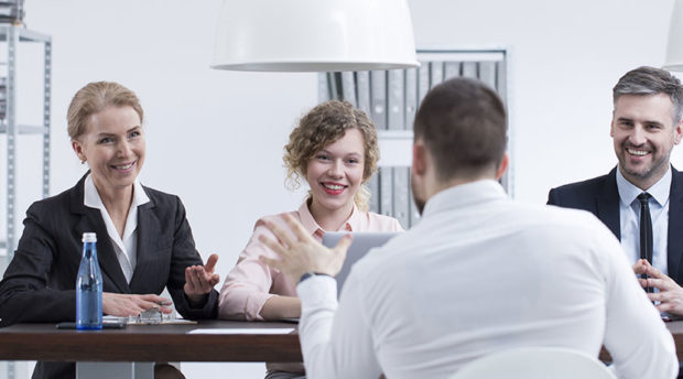 Group Interview in a flexible meeting room